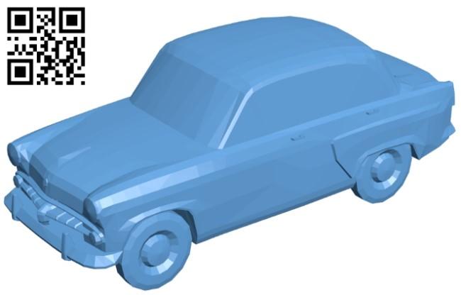 Moskvich - car B009264 file obj free download 3D Model for CNC and 3d printer