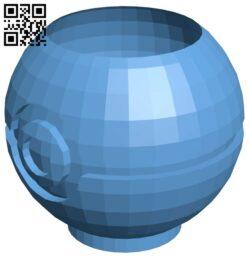 Pokeball planter – pokemon B009310 file obj free download 3D Model for CNC and 3d printer