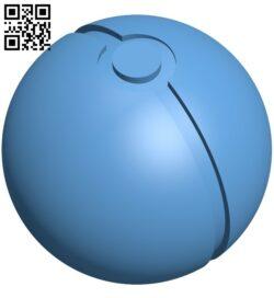 Pokemon ball B009339 file obj free download 3D Model for CNC and 3d printer
