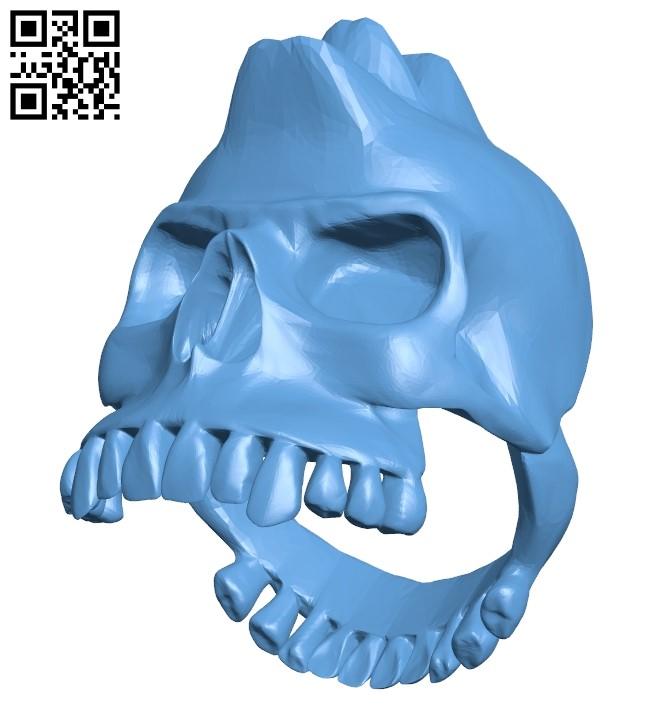 Punk skull ring B009366 file obj free download 3D Model for CNC and 3d printer