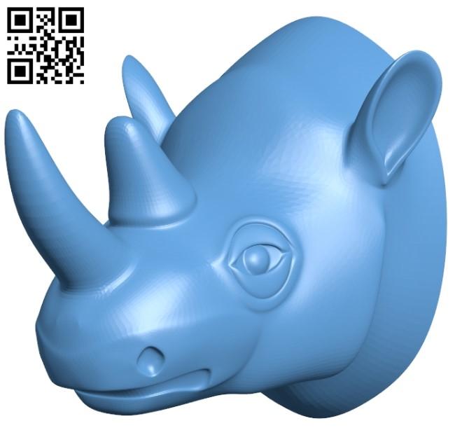 Rhino head B009269 file obj free download 3D Model for CNC and 3d printer