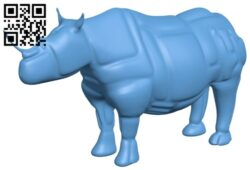 Rhino sculpture B009343 file obj free download 3D Model for CNC and 3d printer