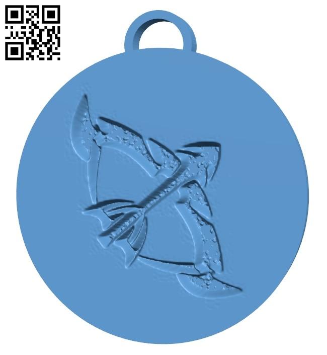 Sagittarius pendant B009356 file obj free download 3D Model for CNC and 3d printer