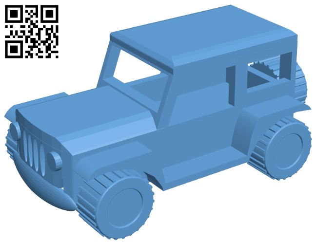 Simple jeep car B009286 file obj free download 3D Model for CNC and 3d printer