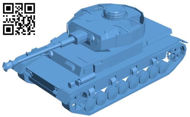 Tank Panzer IV B009357 file obj free download 3D Model for CNC and 3d printer