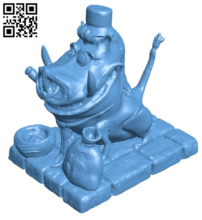 Wealthy Pumbaa B009379 file obj free download 3D Model for CNC and 3d printer
