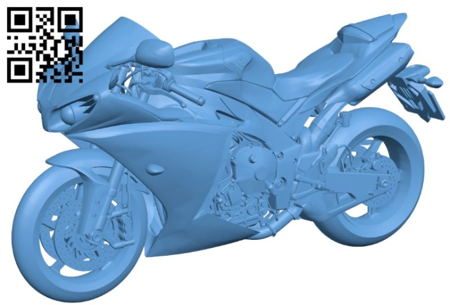 Yamaha YZF-R1 - motorbike B009304 file obj free download 3D Model for CNC and 3d printer