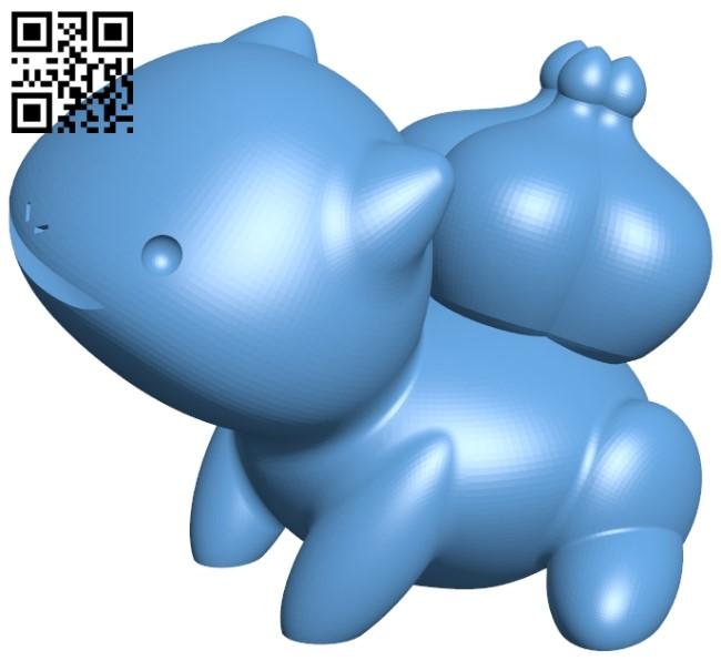 Bulbasaur Pseudo - pokemon B009414 file obj free download 3D Model for CNC and 3d printer