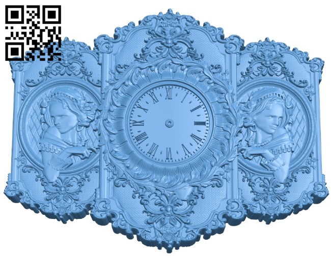 Clock face panel A006451 download free stl files 3d model for CNC wood carving