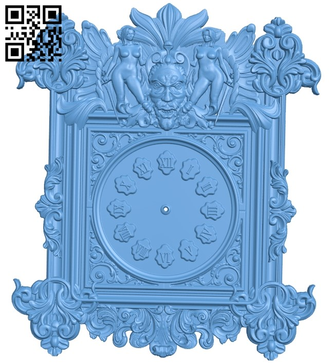 Clock face panel A006453 download free stl files 3d model for CNC wood carving