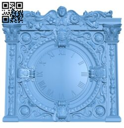 Clock face panel – Clock Angel A006457 download free stl files 3d model for CNC wood carving