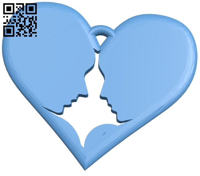 Heart couple pendant B009419 file obj free download 3D Model for CNC and 3d printer