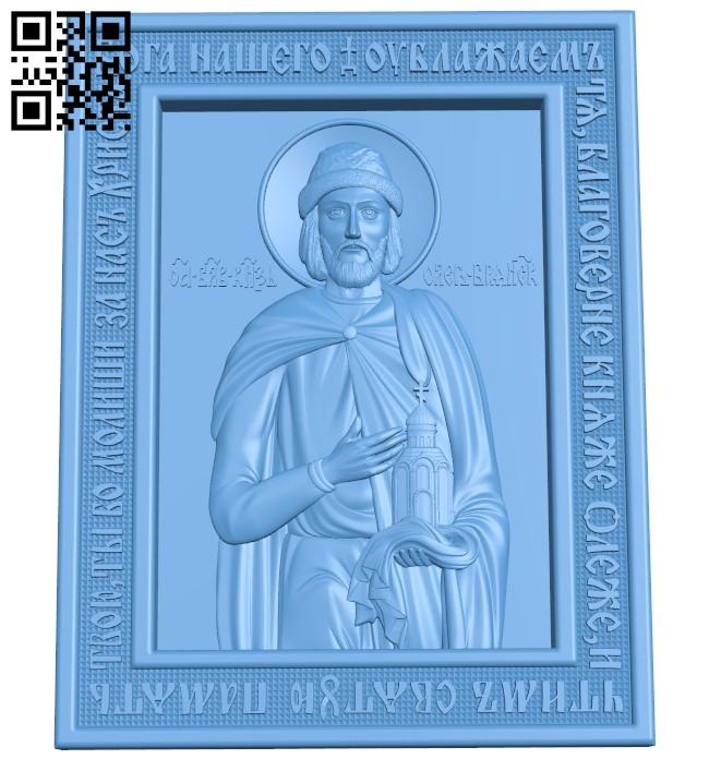 Icon Saint Oleg Bryansk A006350 download free stl files 3d model for CNC wood carving