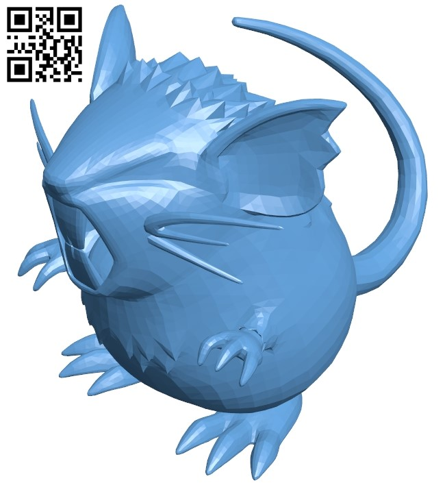 Raticate - mouse B009492 file stl free download 3D Model for CNC and 3d printer