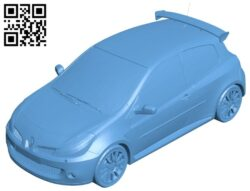 Renault Clio 3RS – car B009465 file obj free download 3D Model for CNC and 3d printer