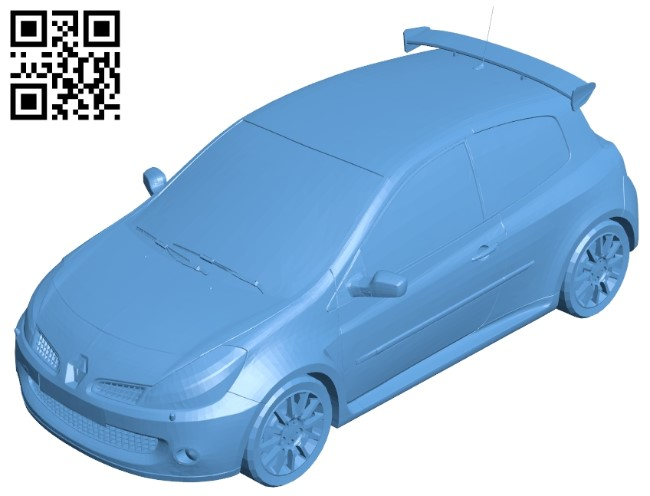 Renault Clio 3RS - car B009465 file obj free download 3D Model for CNC and 3d printer