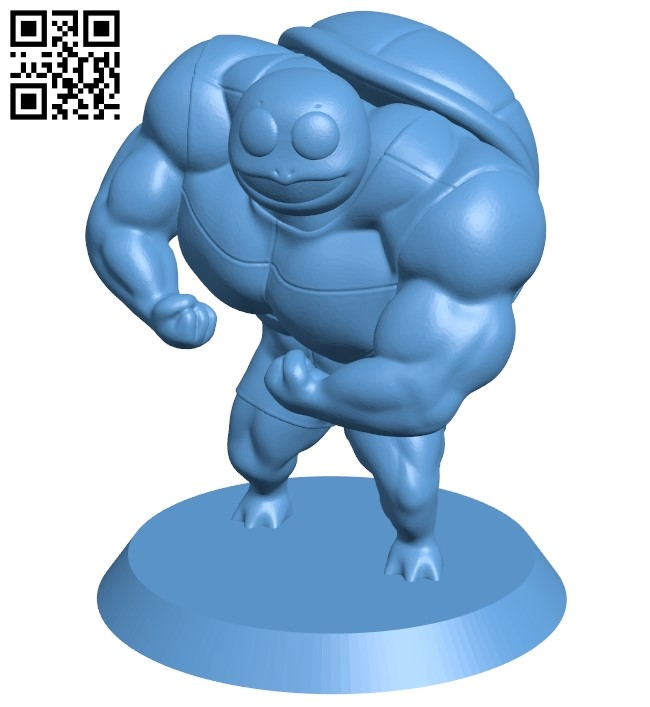 Squirtle athlete - ninja B009456 file obj free download 3D Model for CNC and 3d printer
