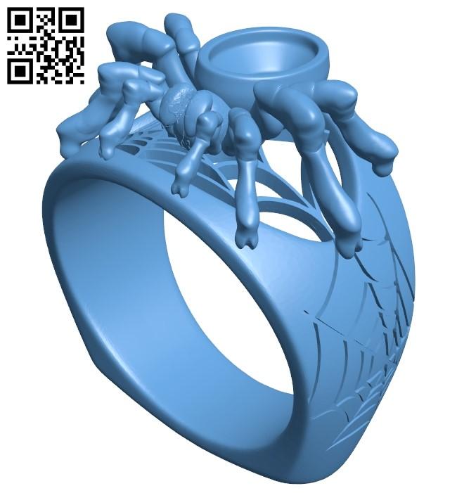 Tarantula ring B009429 file obj free download 3D Model for CNC and 3d printer