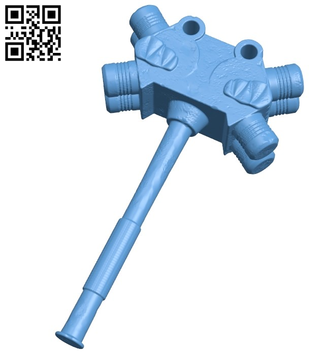 Thor's hammer B009434 file obj free download 3D Model for CNC and 3d printer
