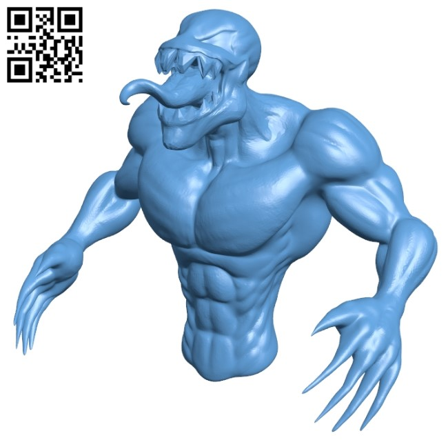 Venom bust - superhero B009468 file obj free download 3D Model for CNC and 3d printer