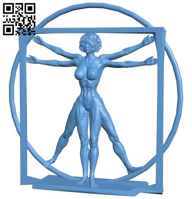 Vitruvian woman B009486 file stl free download 3D Model for CNC and 3d printer