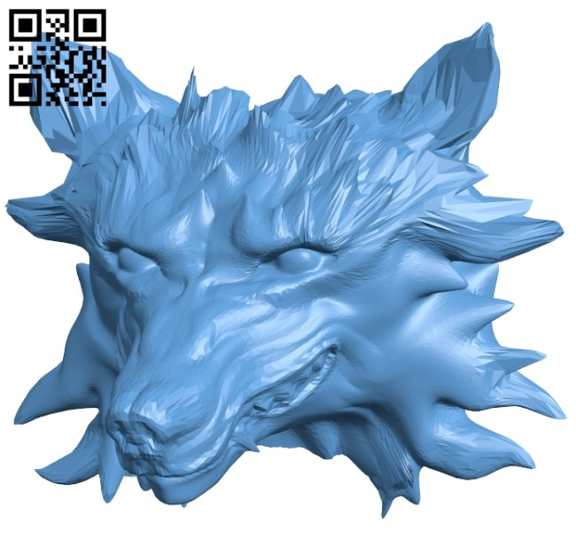 Wolf trophy - head B009536 file stl free download 3D Model for CNC and 3d printer