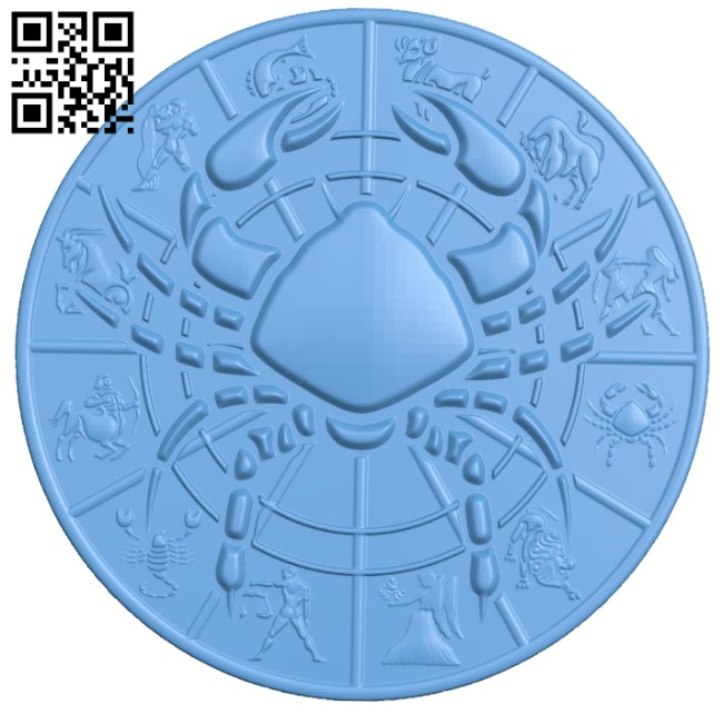Zodiac pattern - Cancer A006403 download free stl files 3d model for CNC wood carving