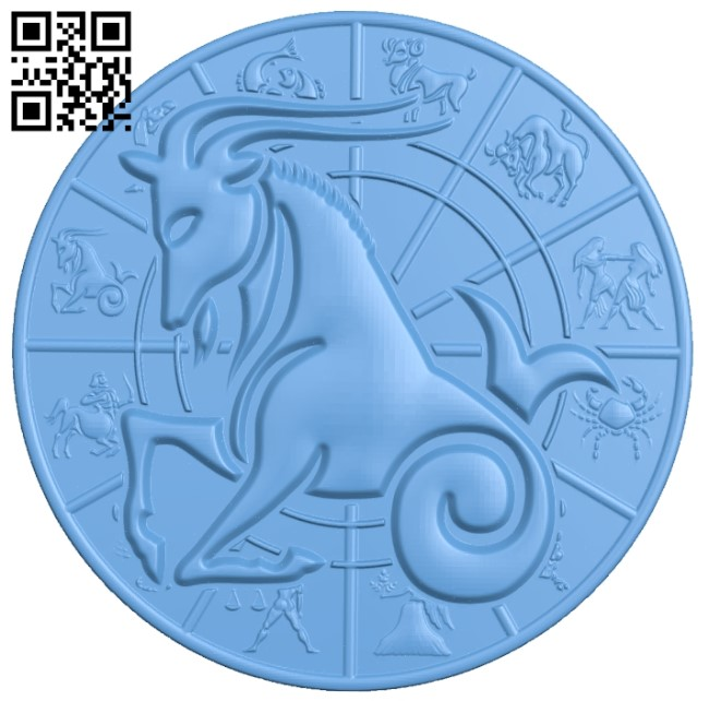 Zodiac pattern - Capricorn A006404 download free stl files 3d model for CNC wood carving