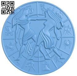 Zodiac pattern – Gemini A006405 download free stl files 3d model for CNC wood carving