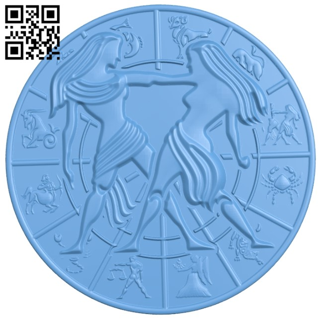 Zodiac pattern - Gemini A006405 download free stl files 3d model for CNC wood carving