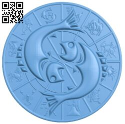Zodiac pattern – Pisces A006408 download free stl files 3d model for CNC wood carving