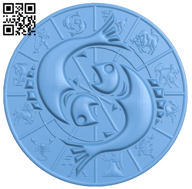 Zodiac pattern - Pisces A006408 download free stl files 3d model for CNC wood carving