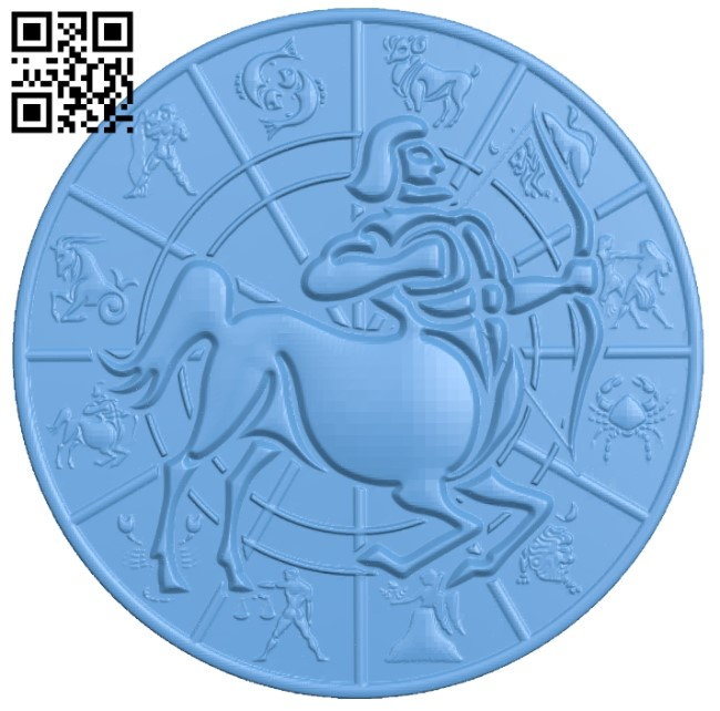 Zodiac pattern - Sagittarius A006409 download free stl files 3d model for CNC wood carving