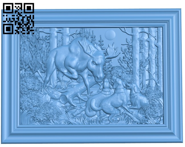 Elk and dogs A006507 download free stl files 3d model for CNC wood carving