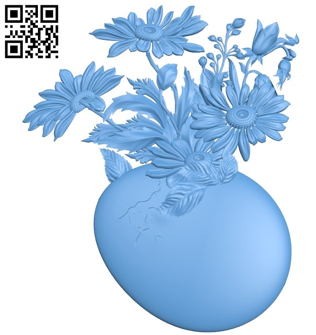 Flowers and eggs A006490 download free stl files 3d model for CNC wood carving