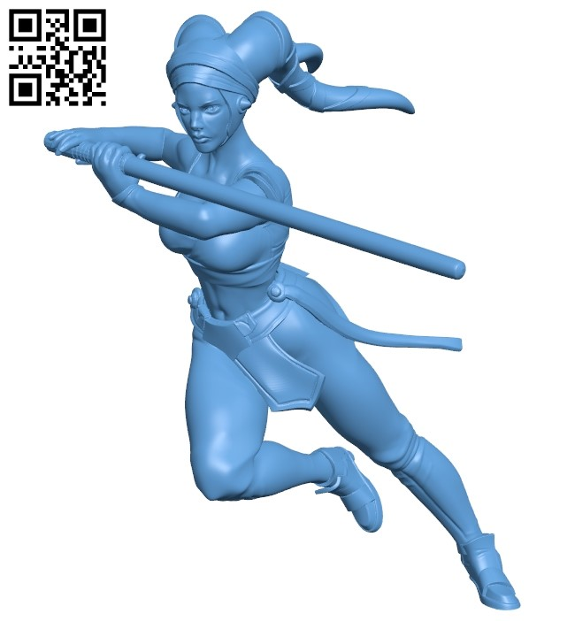 Miss Aayla Secura B009590 file stl free download 3D Model for CNC and 3d printer