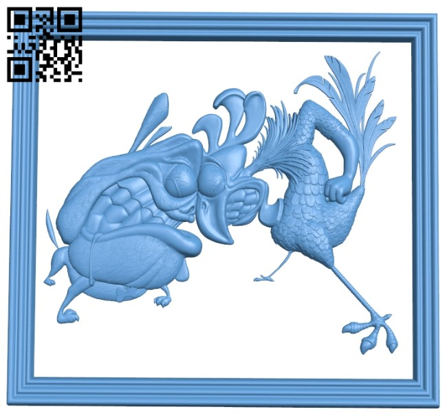Painting of a rooster and a dog A006492 download free stl files 3d model for CNC wood carving