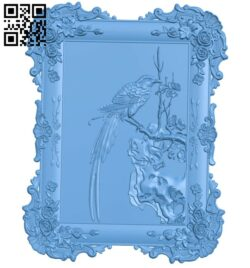 Picture framed Bird on a branch A006508 download free stl files 3d model for CNC wood carving