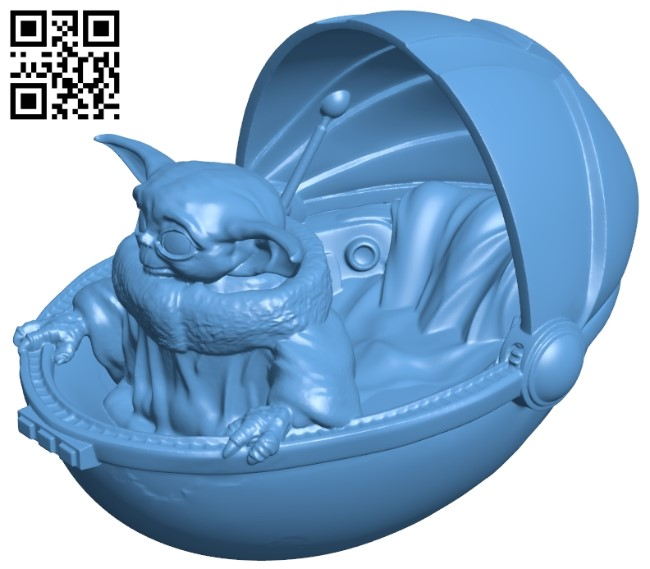 Smile baby yoda B009608 file stl free download 3D Model for CNC and 3d printer