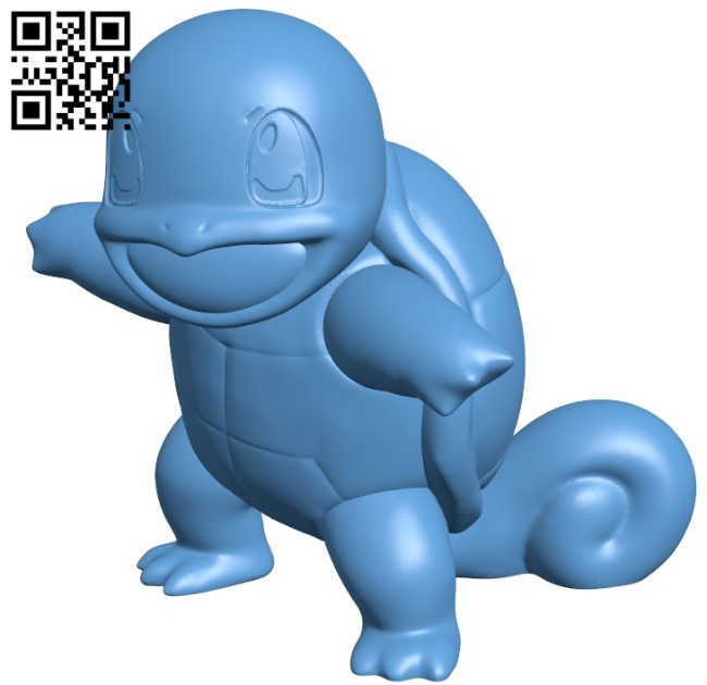 Squirtle - Pokemon B009558 file stl free download 3D Model for CNC and 3d printer