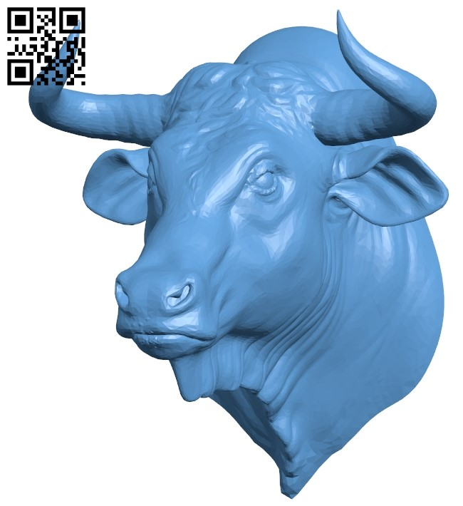 Wild bull - head B009545 file stl free download 3D Model for CNC and 3d printer