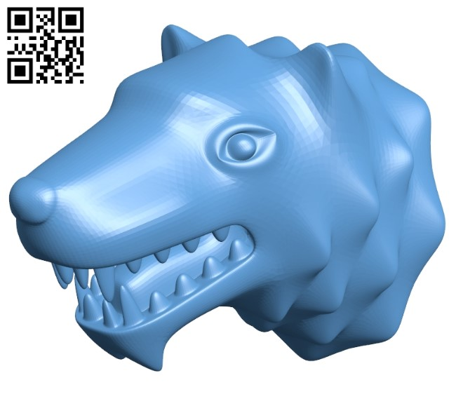 Wolf head B009547 file stl free download 3D Model for CNC and 3d printer