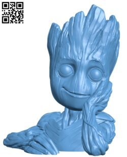 Baby Groot flower pot H000103 file stl free download 3D Model for CNC and 3d printer