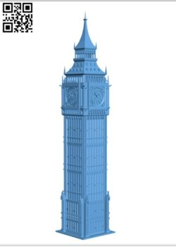 Big Ben – London UK H000429 file stl free download 3D Model for CNC and 3d printer