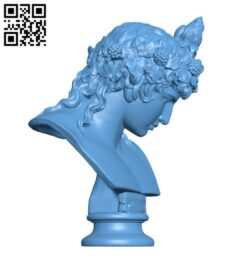 Bust of Antinous as Dionysus H000273 file stl free download 3D Model for CNC and 3d printer