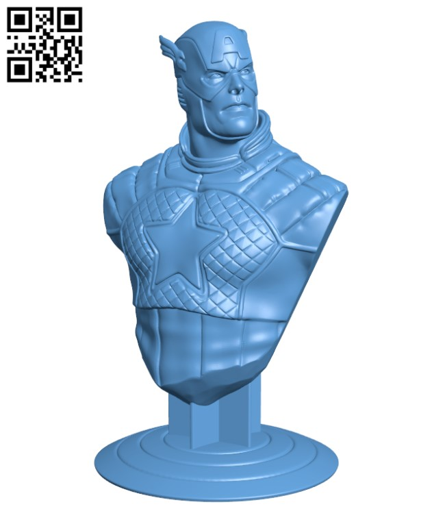 Captain America bust H000258 file stl free download 3D Model for CNC and 3d printer