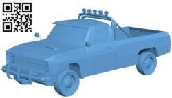 Chevrolet silverado 1986 – truck B009620 file stl free download 3D Model for CNC and 3d printer