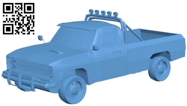 Chevrolet silverado 1986 - truck B009620 file stl free download 3D Model for CNC and 3d printer