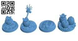 Face hugger and Xenomorph Eggs H000436 file stl free download 3D Model for CNC and 3d printer