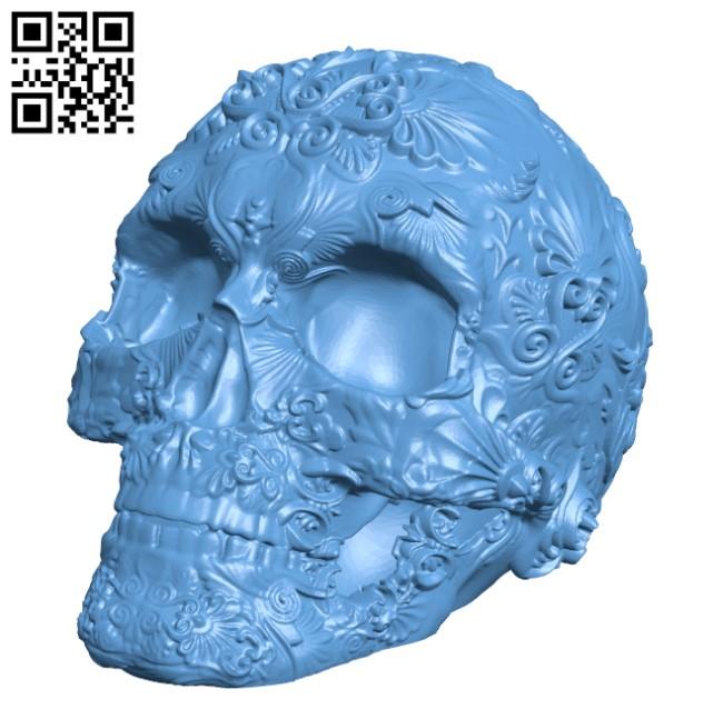 Fancy Skull H000334 file stl free download 3D Model for CNC and 3d printer